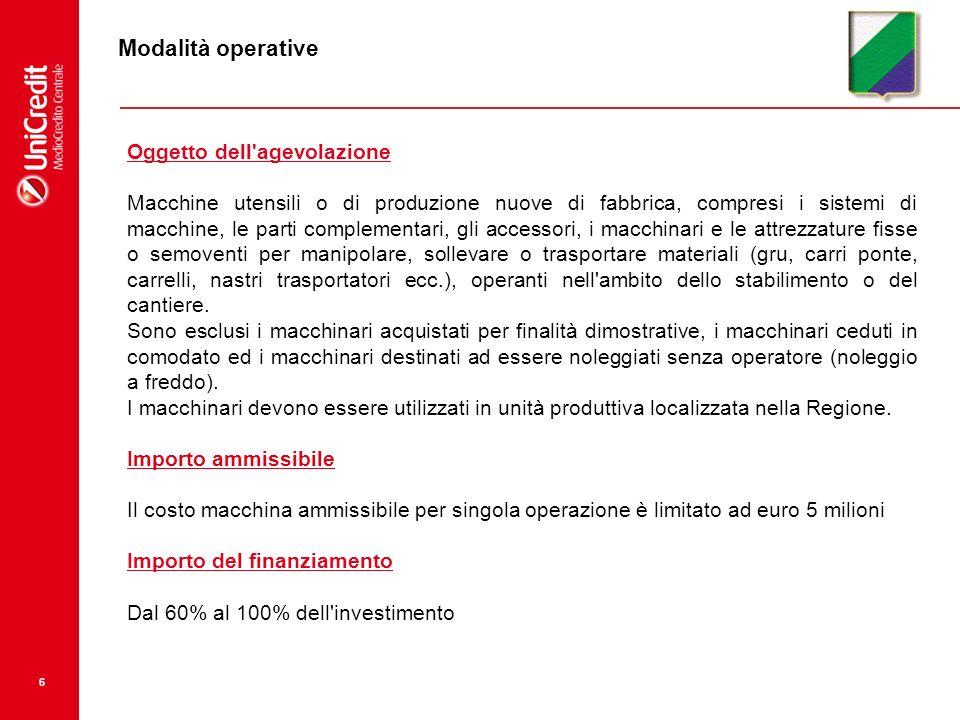 7 Modalità operative Spese ammesse alla agevolazione Spese di acquisizione del macchinario + spese di montaggio, collaudo, imballaggio, trasporto fino al 15 % del totale.