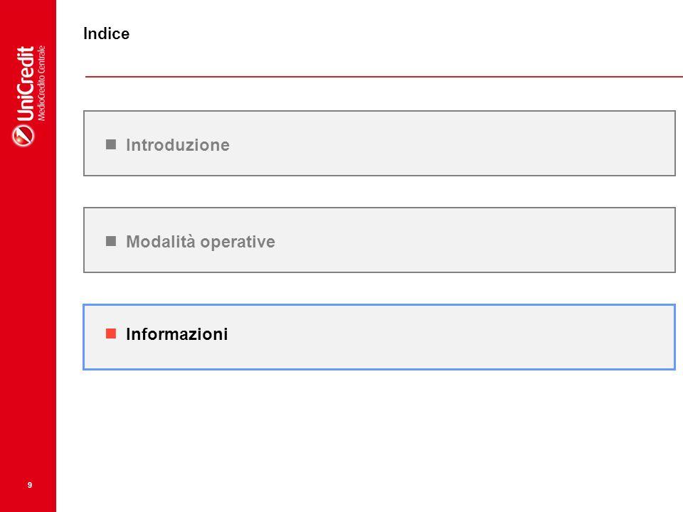 9 Informazioni Introduzione Indice Modalità operative
