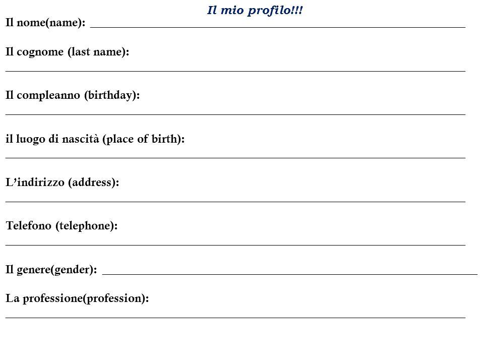 Scrivete e rispondete… Nome:Italiano 1 Data:Signora Tyska Rispondete: Respond using full sentences in Italian about the profile given.