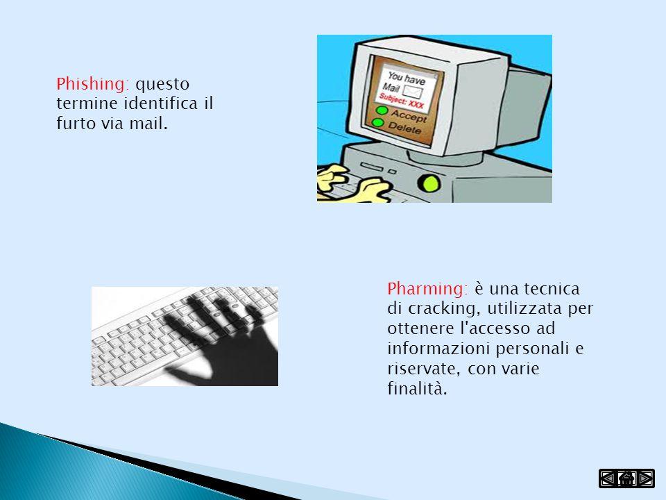 Phishing: questo termine identifica il furto via mail. Pharming: è una tecnica di cracking, utilizzata per ottenere l'accesso ad informazioni personal