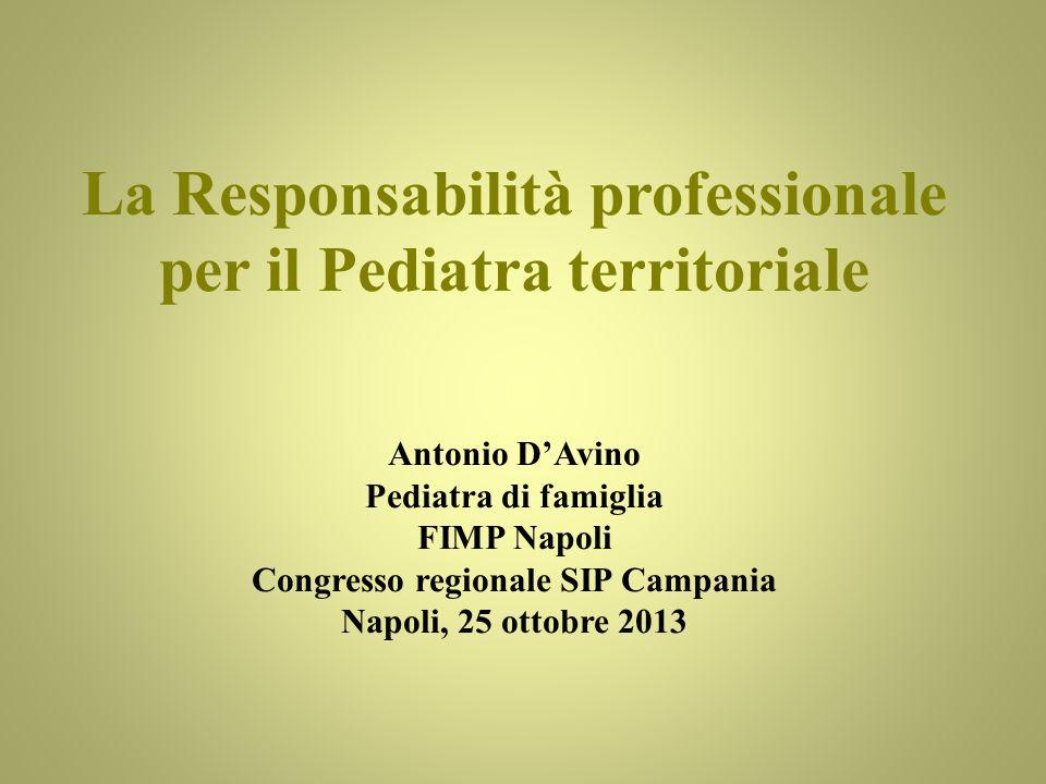 La Responsabilità professionale per il Pediatra territoriale Antonio DAvino Pediatra di famiglia FIMP Napoli Congresso regionale SIP Campania Napoli,