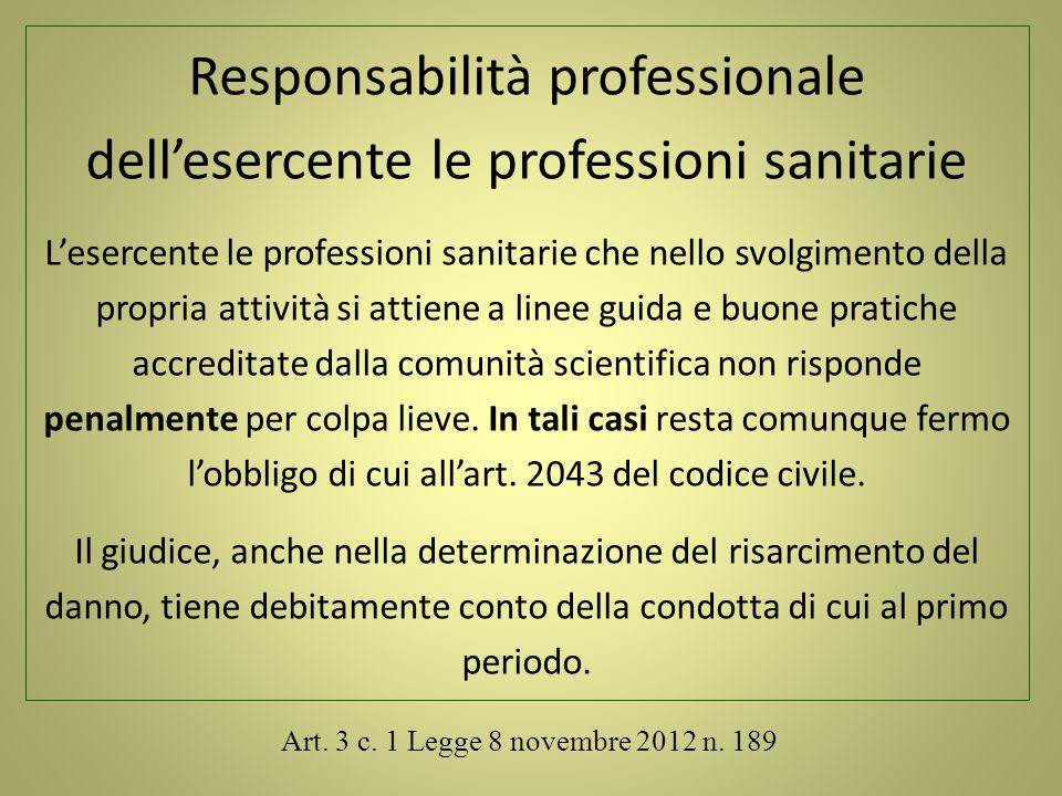 Art. 3 c. 1 Legge 8 novembre 2012 n. 189 Responsabilità professionale dellesercente le professioni sanitarie Lesercente le professioni sanitarie che n