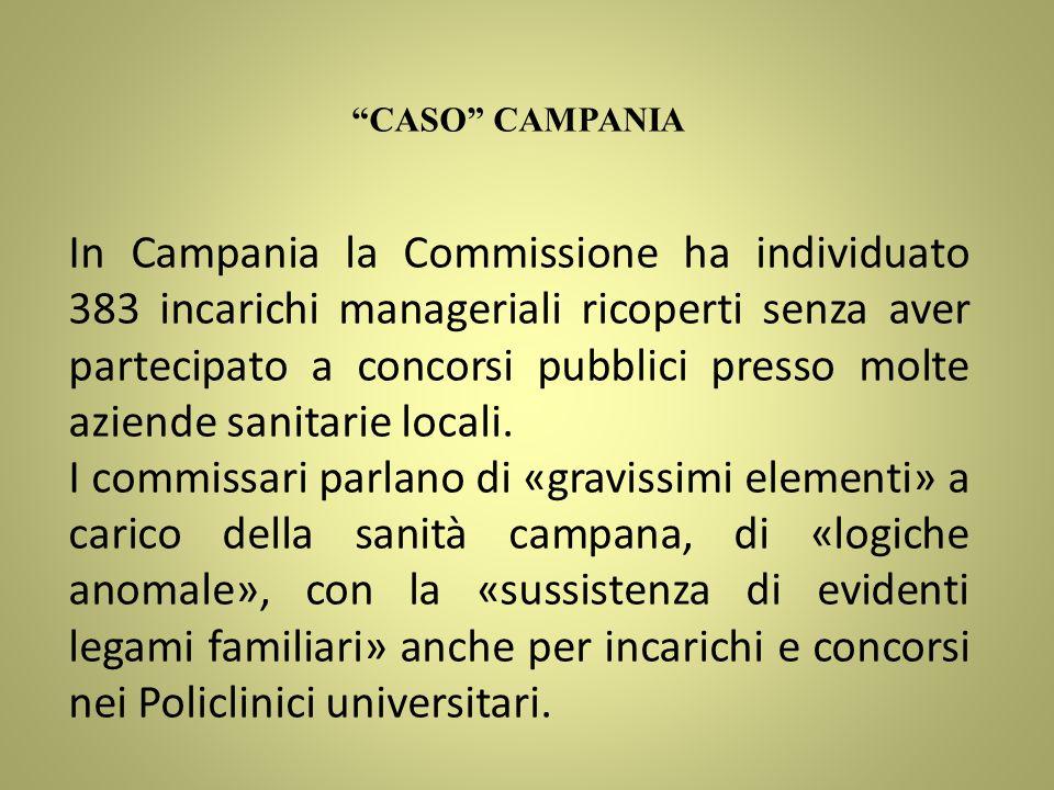 CASO CAMPANIA In Campania la Commissione ha individuato 383 incarichi manageriali ricoperti senza aver partecipato a concorsi pubblici presso molte az