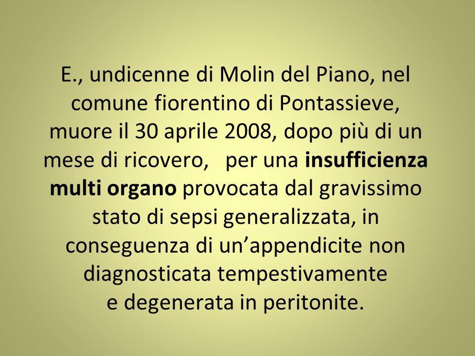 E., undicenne di Molin del Piano, nel comune fiorentino di Pontassieve, muore il 30 aprile 2008, dopo più di un mese di ricovero, per una insufficienz