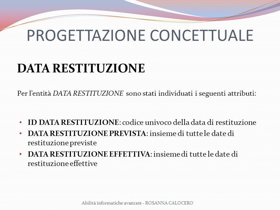 PROGETTAZIONE CONCETTUALE DATA RESTITUZIONE Per lentità DATA RESTITUZIONE sono stati individuati i seguenti attributi: ID DATA RESTITUZIONE: codice univoco della data di restituzione DATA RESTITUZIONE PREVISTA: insieme di tutte le date di restituzione previste DATA RESTITUZIONE EFFETTIVA: insieme di tutte le date di restituzione effettive Abilità informatiche avanzate - ROSANNA CALOCERO