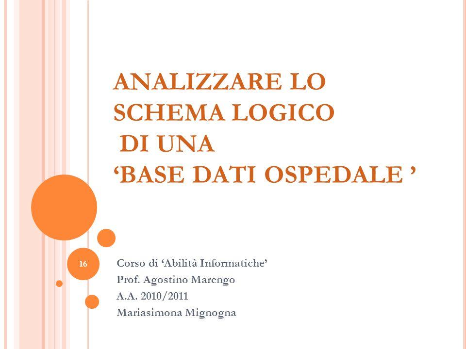 16 ANALIZZARE LO SCHEMA LOGICO DI UNA BASE DATI OSPEDALE Corso di Abilità Informatiche Prof. Agostino Marengo A.A. 2010/2011 Mariasimona Mignogna