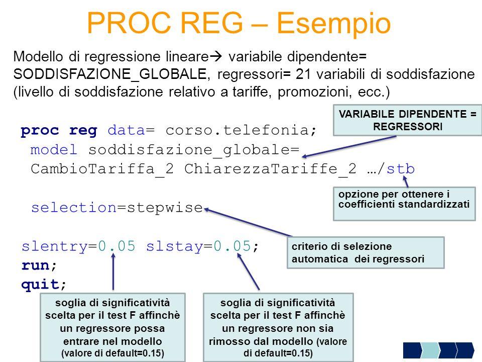 PROC REG – Esempio proc reg data= corso.telefonia; model soddisfazione_globale= CambioTariffa_2 ChiarezzaTariffe_2 …/stb selection=stepwise slentry=0.