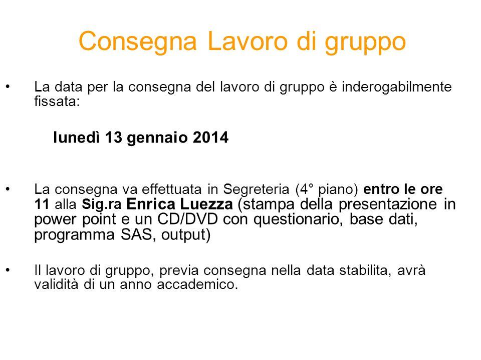 La data per la consegna del lavoro di gruppo è inderogabilmente fissata: lunedì 13 gennaio 2014 La consegna va effettuata in Segreteria (4° piano) ent