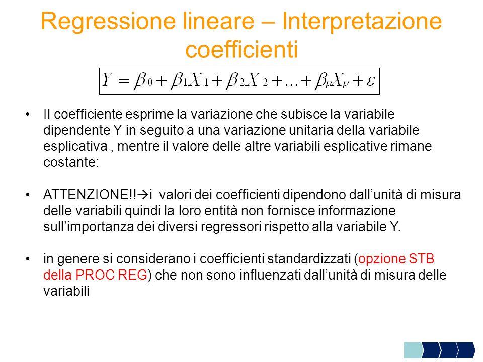 Regressione lineare – Interpretazione coefficienti Il coefficiente esprime la variazione che subisce la variabile dipendente Y in seguito a una variaz