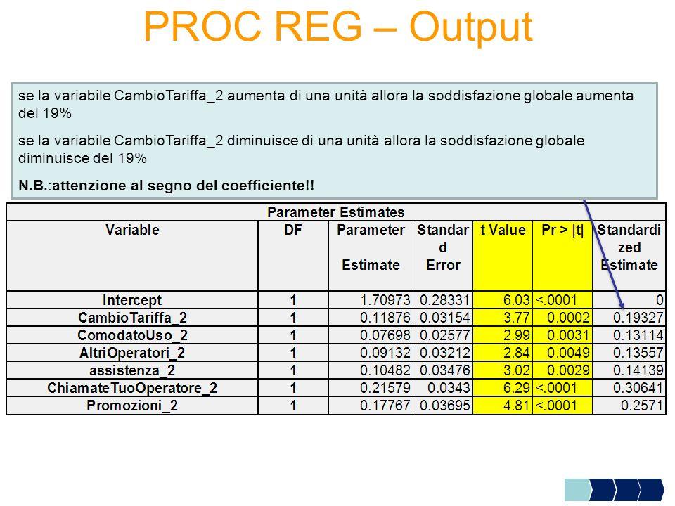 PROC REG – Output se la variabile CambioTariffa_2 aumenta di una unità allora la soddisfazione globale aumenta del 19% se la variabile CambioTariffa_2