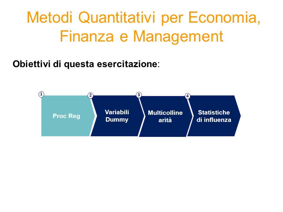 Metodi Quantitativi per Economia, Finanza e Management Obiettivi di questa esercitazione: Proc Reg 1 Variabili Dummy 2 Multicolline arità 3 Statistich