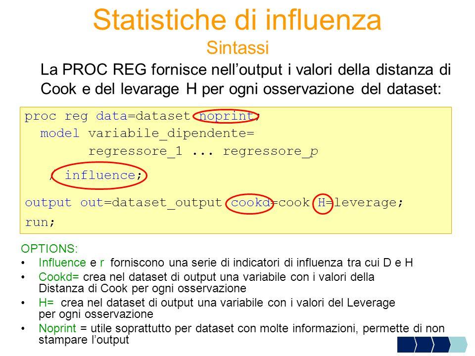 Sintassi La PROC REG fornisce nelloutput i valori della distanza di Cook e del levarage H per ogni osservazione del dataset: proc reg data=dataset nop