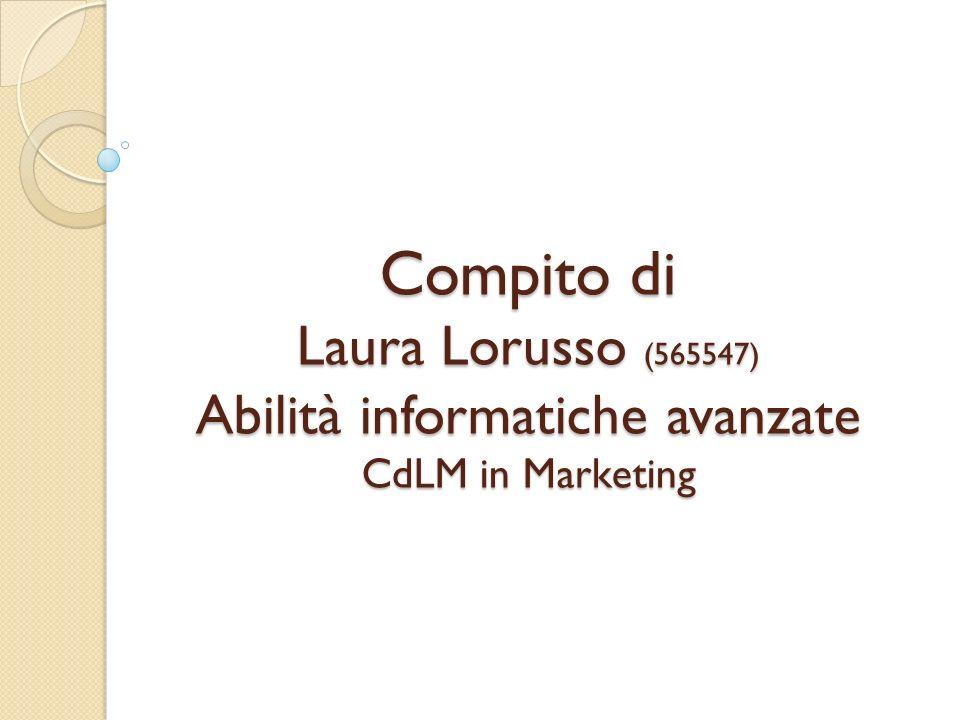 Compito di Laura Lorusso (565547) Abilità informatiche avanzate CdLM in Marketing