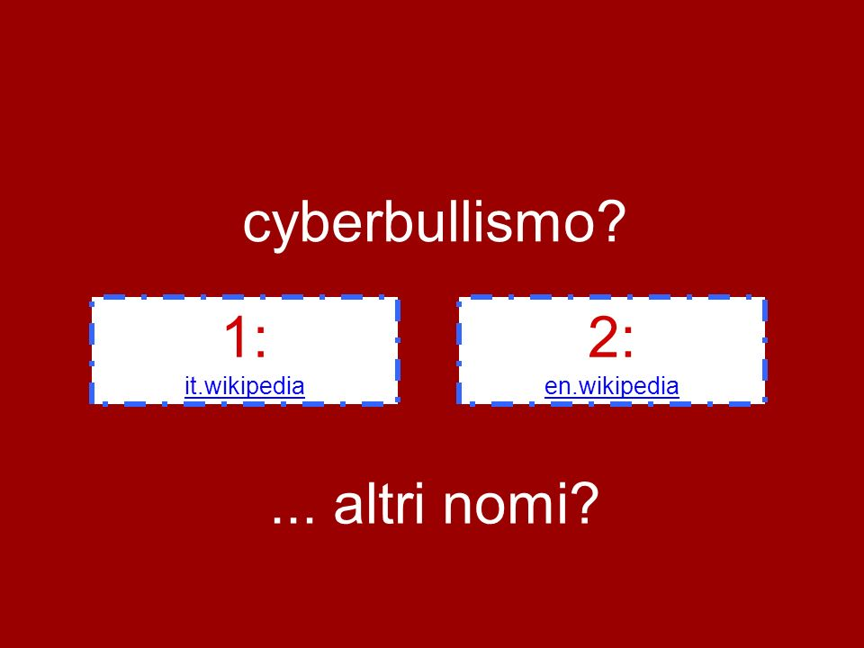 cyberbullismo 1: it.wikipedia 2: en.wikipedia... altri nomi