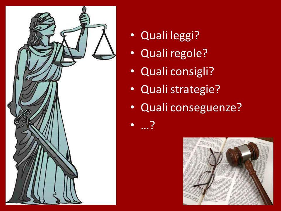 Quali leggi Quali regole Quali consigli Quali strategie Quali conseguenze …