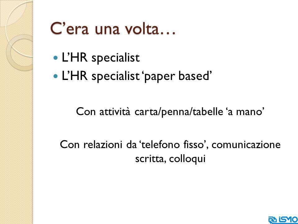 Cera una volta… LHR specialist LHR specialist paper based Con attività carta/penna/tabelle a mano Con relazioni da telefono fisso, comunicazione scritta, colloqui