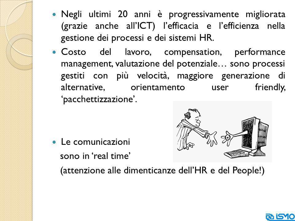 Negli ultimi 20 anni è progressivamente migliorata (grazie anche allICT) lefficacia e lefficienza nella gestione dei processi e dei sistemi HR.