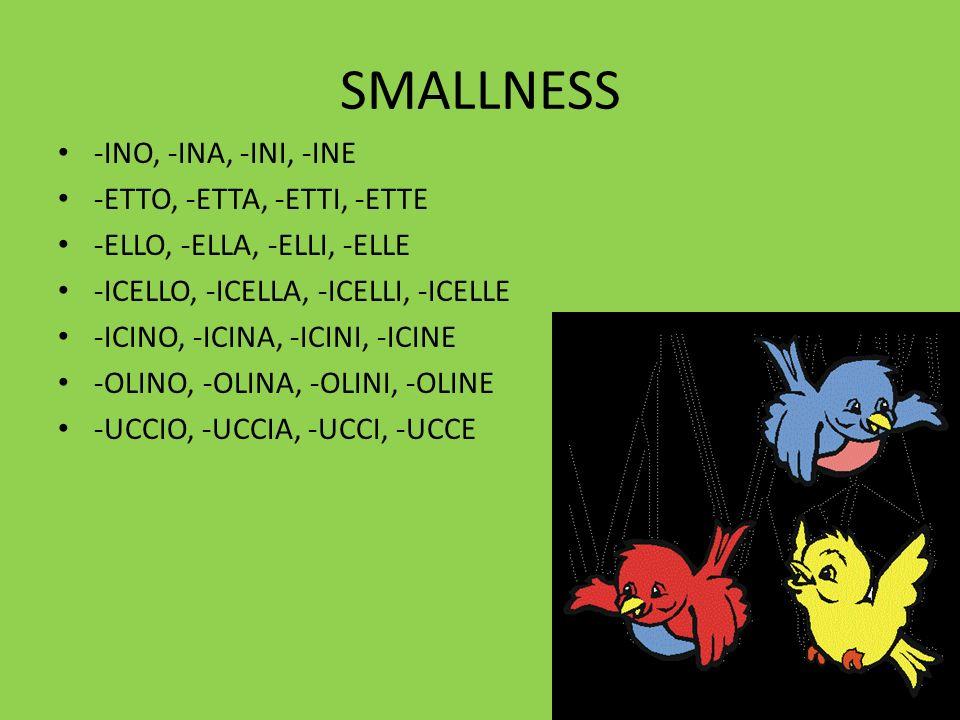 SMALLNESS -INO, -INA, -INI, -INE -ETTO, -ETTA, -ETTI, -ETTE -ELLO, -ELLA, -ELLI, -ELLE -ICELLO, -ICELLA, -ICELLI, -ICELLE -ICINO, -ICINA, -ICINI, -ICINE -OLINO, -OLINA, -OLINI, -OLINE -UCCIO, -UCCIA, -UCCI, -UCCE