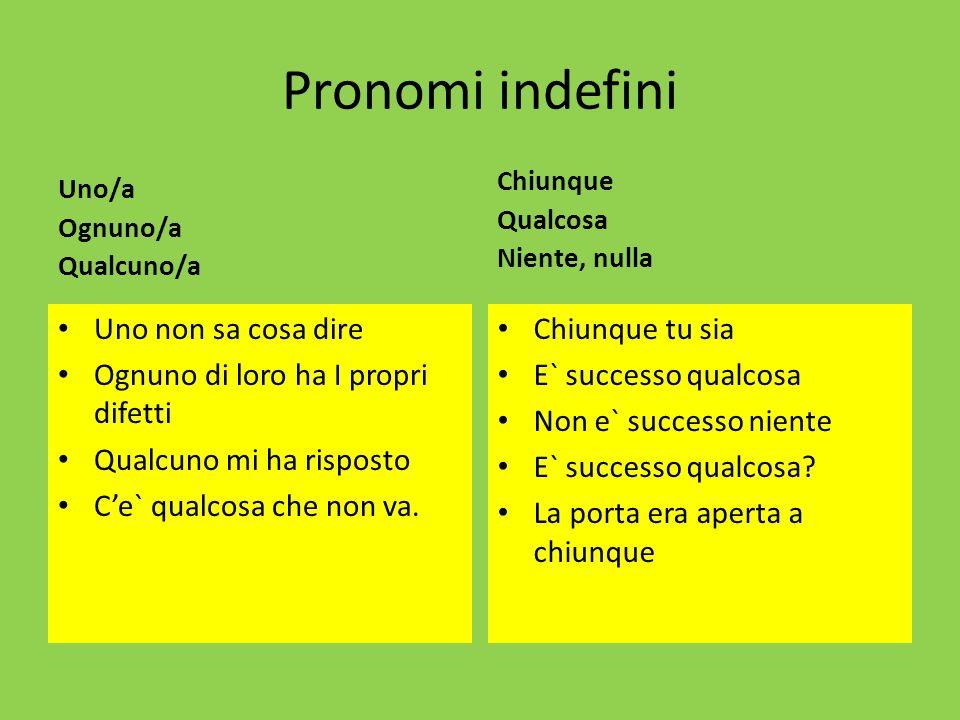 Pronomi indefini Uno/a Ognuno/a Qualcuno/a Uno non sa cosa dire Ognuno di loro ha I propri difetti Qualcuno mi ha risposto Ce` qualcosa che non va. Ch