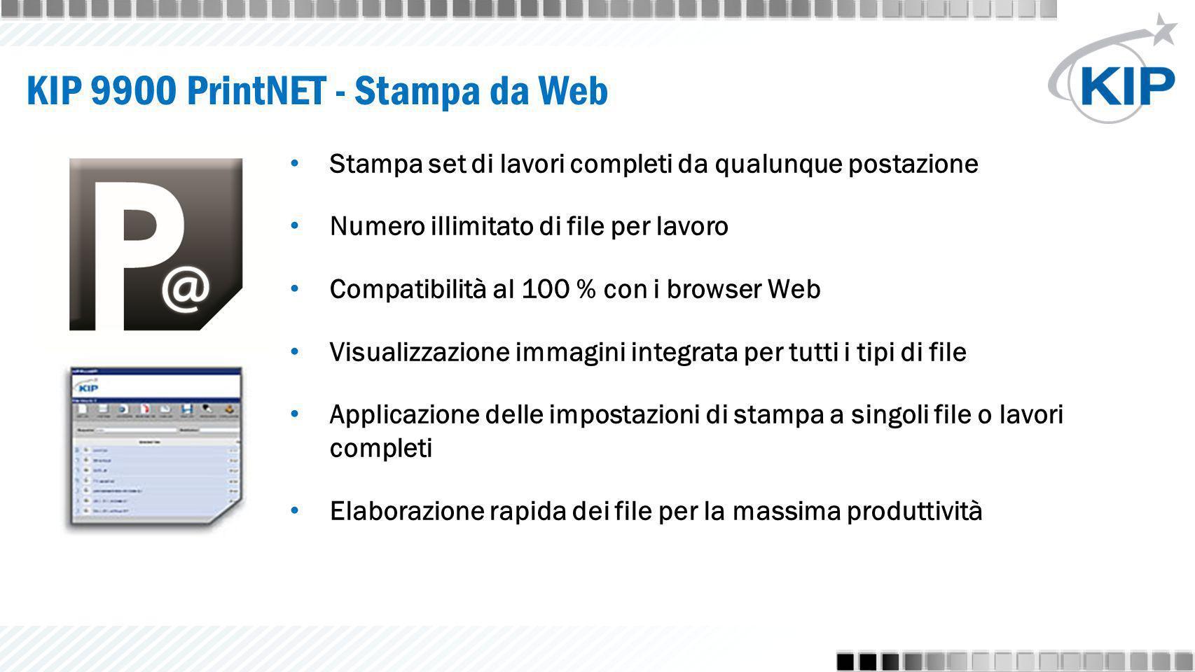 KIP 9900 PrintNET - Stampa da Web Stampa set di lavori completi da qualunque postazione Numero illimitato di file per lavoro Compatibilità al 100 % co