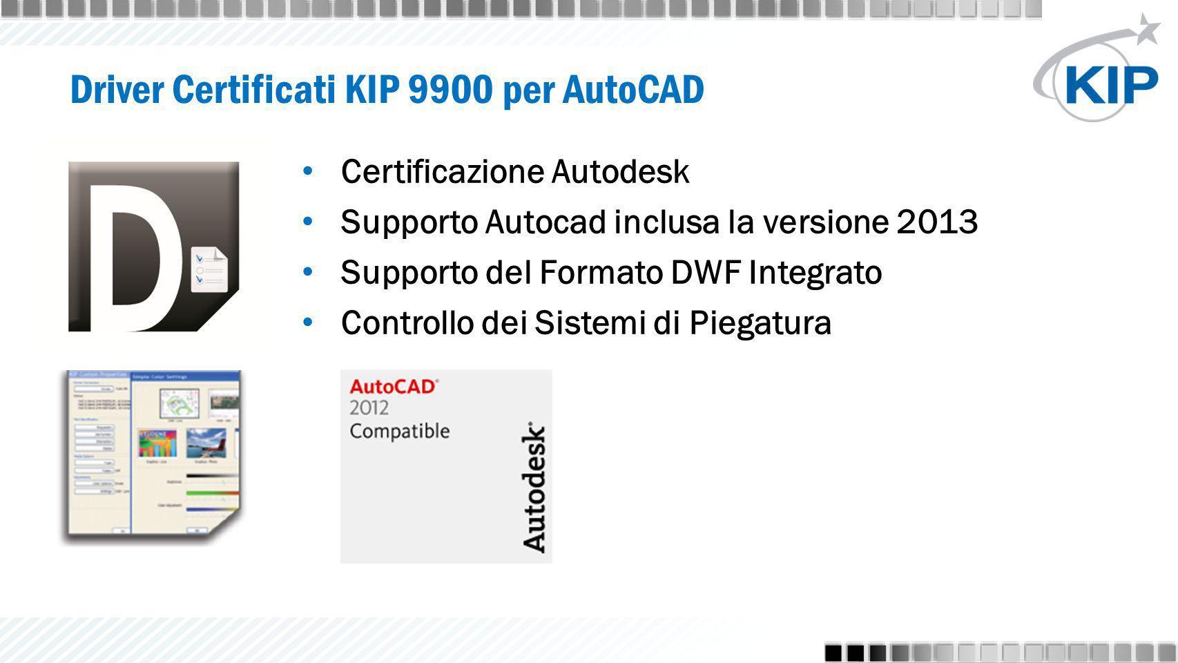 Certificazione Autodesk Supporto Autocad inclusa la versione 2013 Supporto del Formato DWF Integrato Controllo dei Sistemi di Piegatura