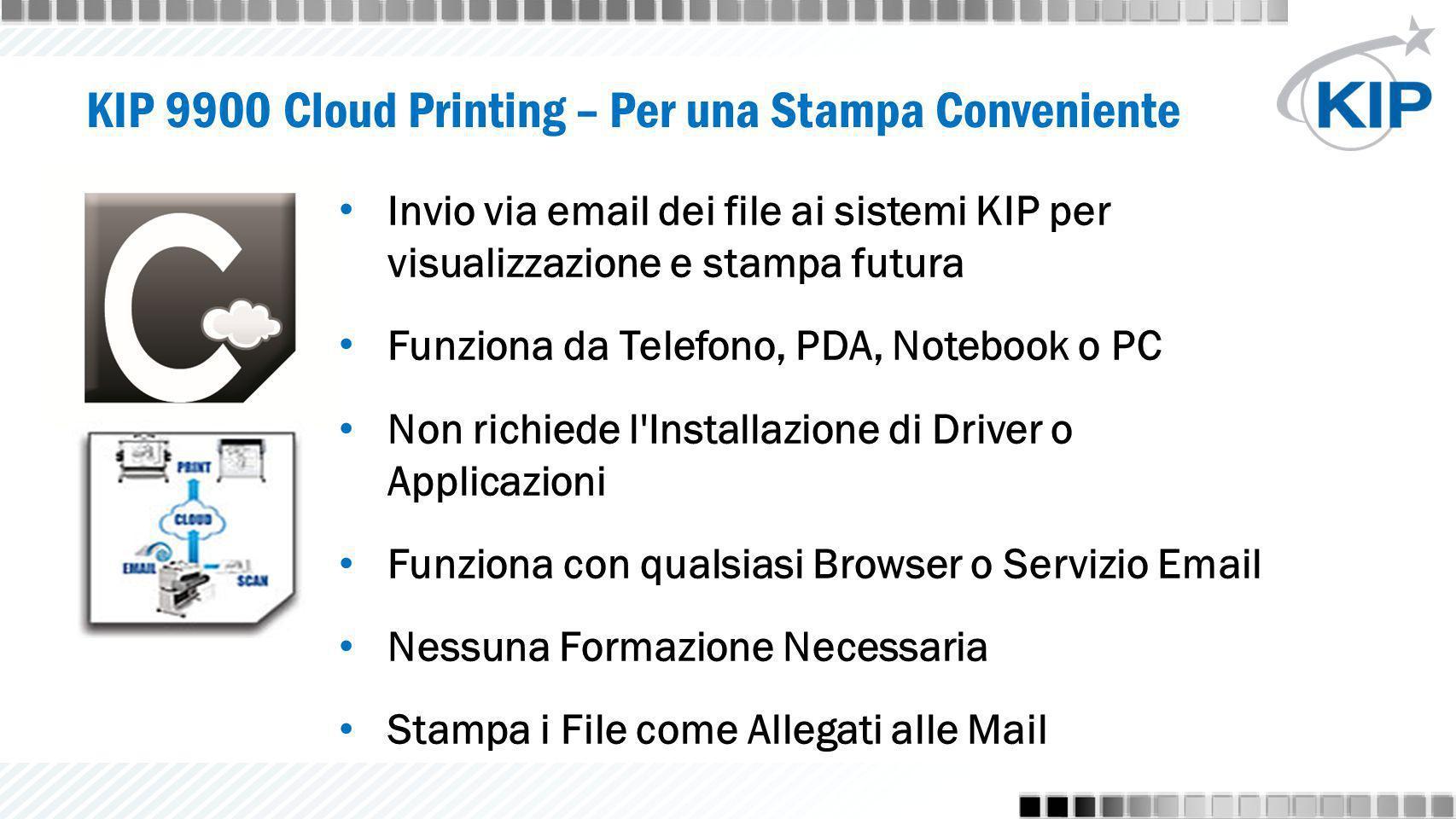 KIP 9900 Cloud Printing – Per una Stampa Conveniente Invio via email dei file ai sistemi KIP per visualizzazione e stampa futura Funziona da Telefono,
