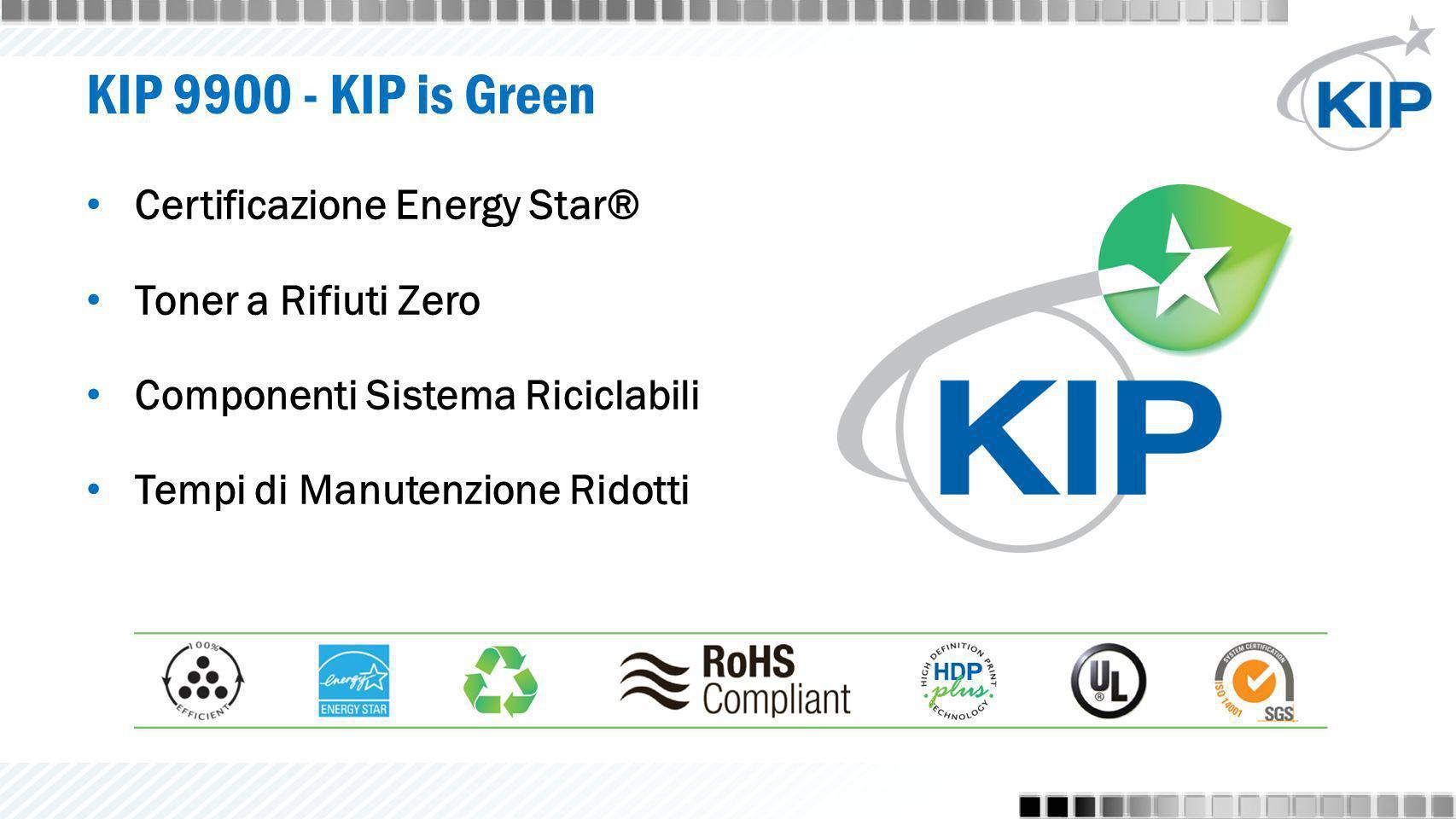 KIP 9900 - KIP is Green Certificazione Energy Star® Toner a Rifiuti Zero Componenti Sistema Riciclabili Tempi di Manutenzione Ridotti