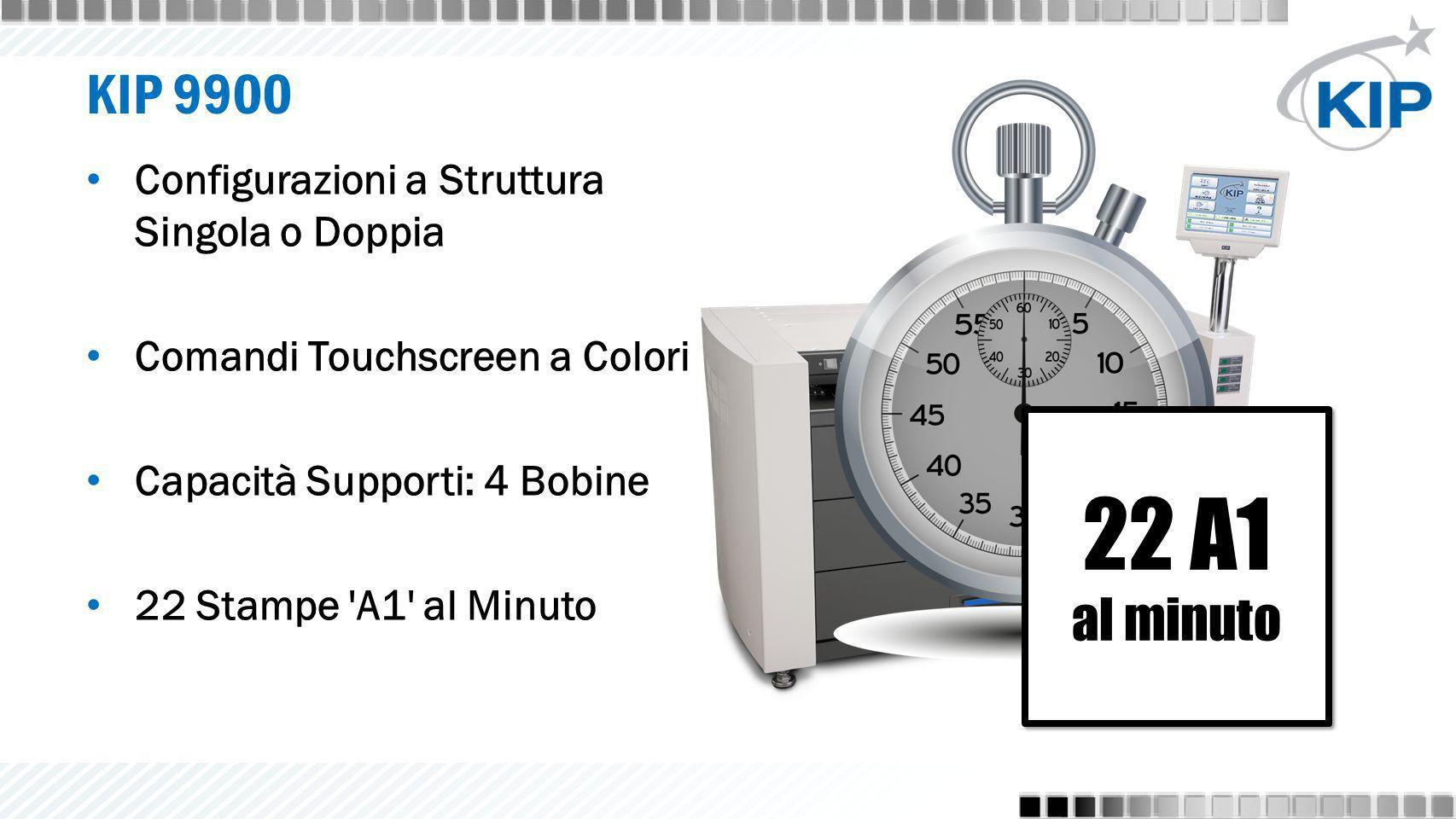KIP 9900 Configurazioni a Struttura Singola o Doppia Comandi Touchscreen a Colori Capacità Supporti: 4 Bobine 22 Stampe 'A1' al Minuto 22 A1 al minuto