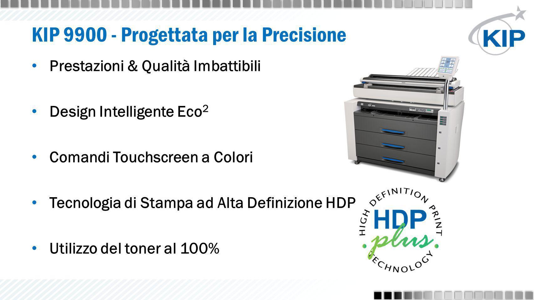KIP 9900 - Progettata per la Precisione Prestazioni & Qualità Imbattibili Design Intelligente Eco 2 Comandi Touchscreen a Colori Tecnologia di Stampa ad Alta Definizione HDP Utilizzo del toner al 100%