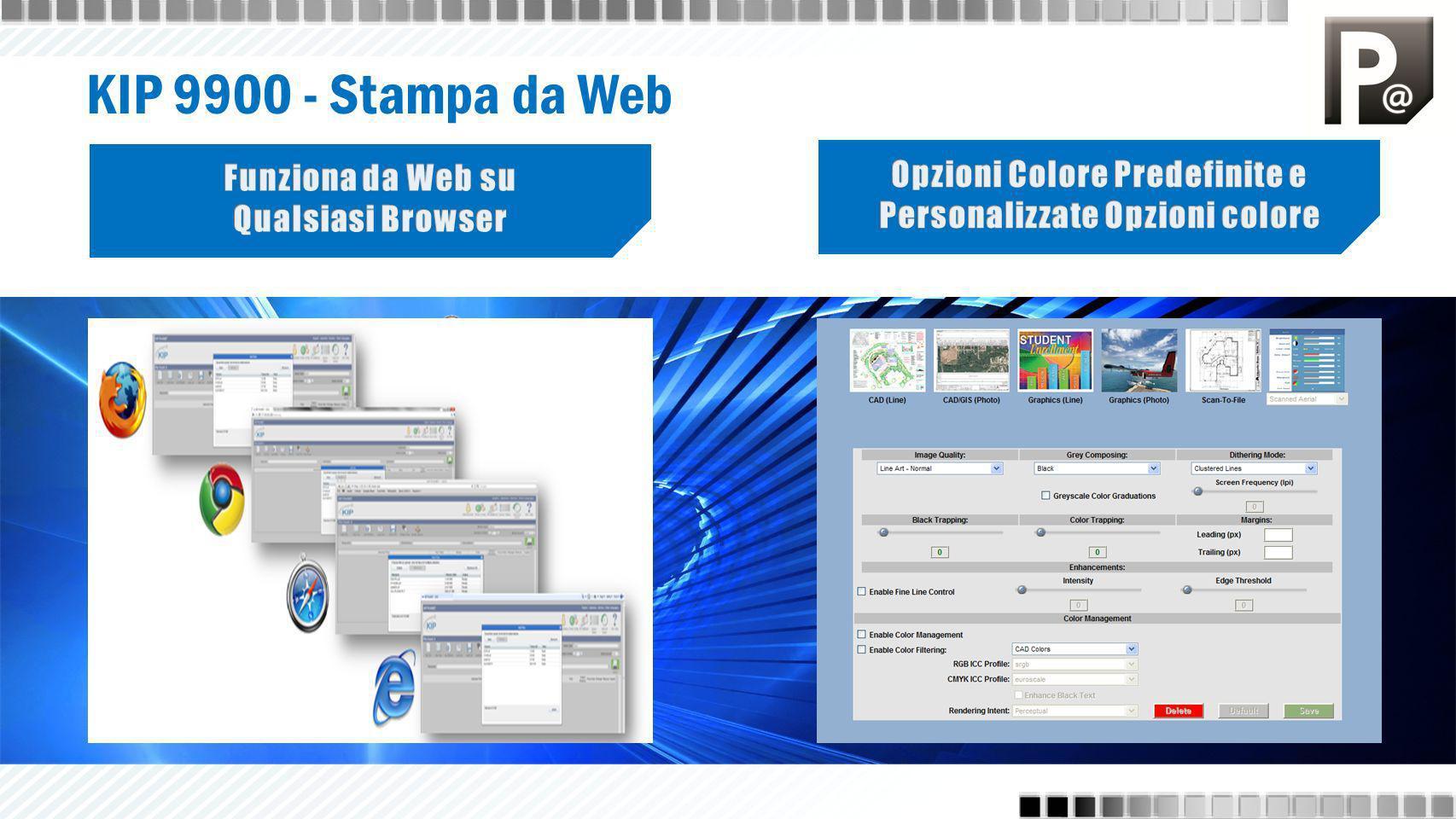 KIP 9900 PrintNET - Stampa da Web Stampa set di lavori completi da qualunque postazione Numero illimitato di file per lavoro Compatibilità al 100 % con i browser Web Visualizzazione immagini integrata per tutti i tipi di file Applicazione delle impostazioni di stampa a singoli file o lavori completi Elaborazione rapida dei file per la massima produttività