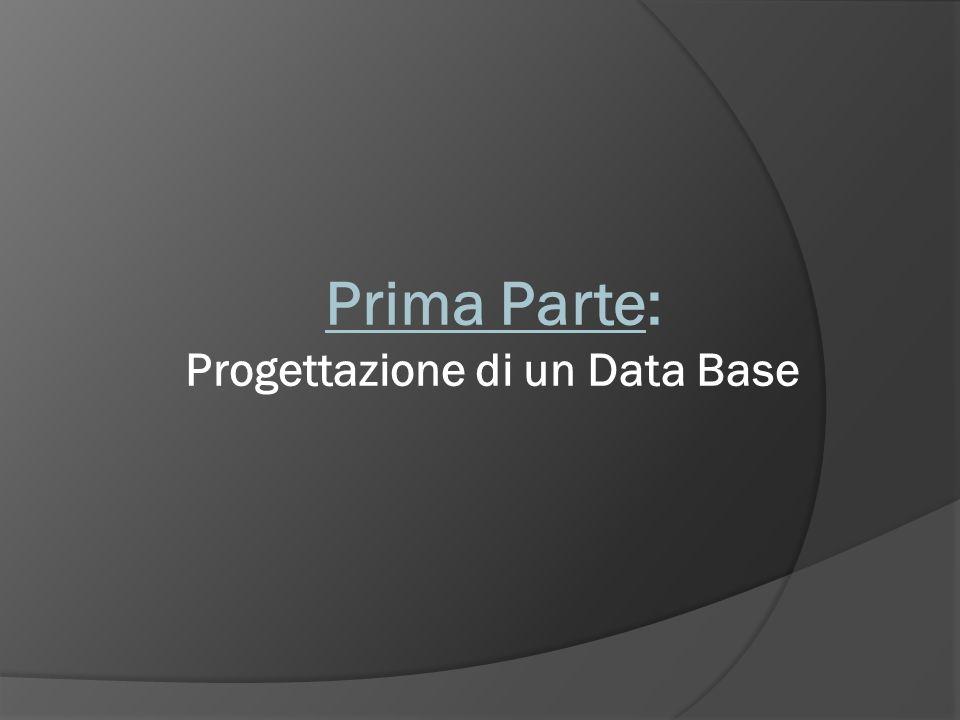 Prima Parte: Progettazione di un Data Base