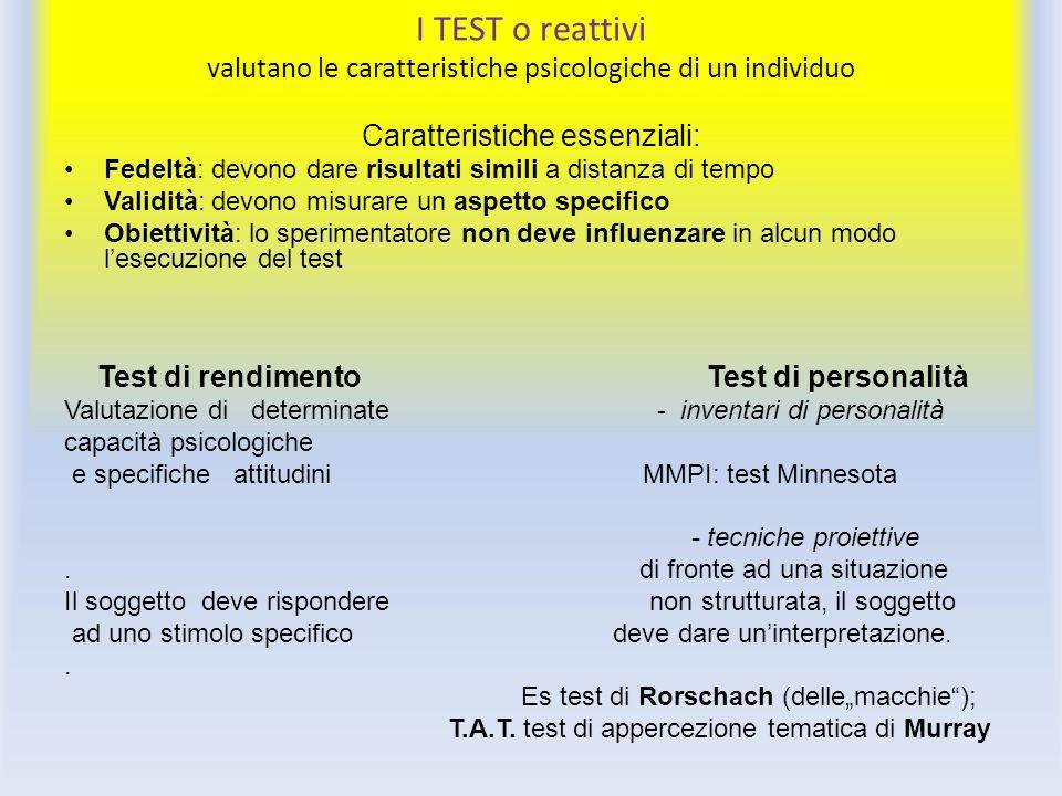 I TEST o reattivi valutano le caratteristiche psicologiche di un individuo Caratteristiche essenziali: Fedeltà: devono dare risultati simili a distanz