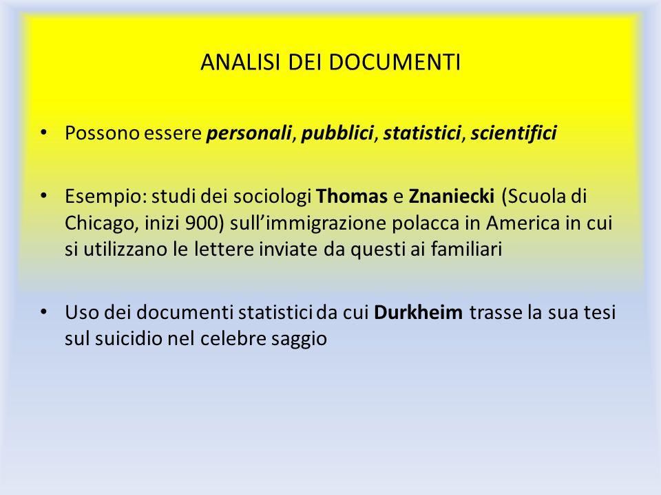 ANALISI DEI DOCUMENTI Possono essere personali, pubblici, statistici, scientifici Esempio: studi dei sociologi Thomas e Znaniecki (Scuola di Chicago,