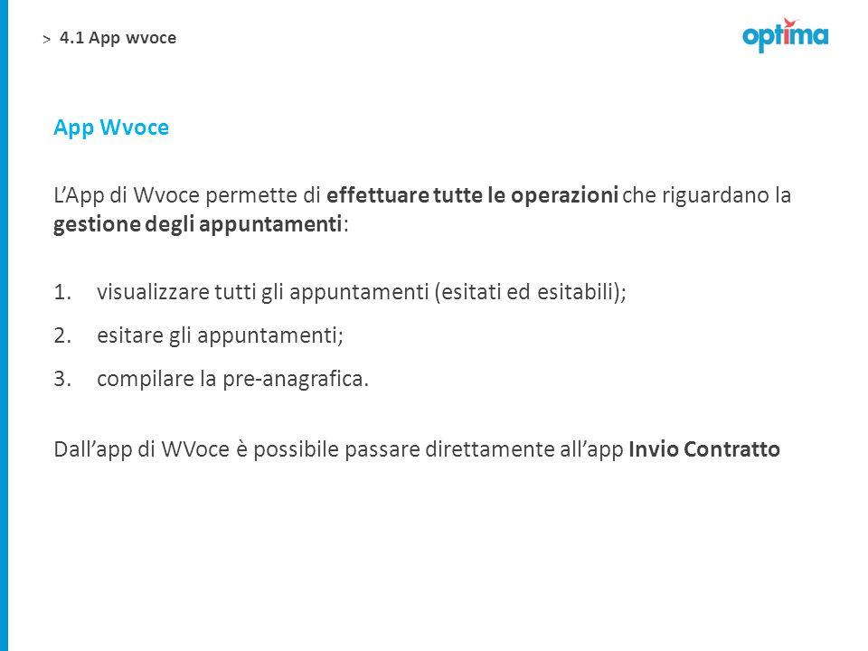 > LApp di Wvoce permette di effettuare tutte le operazioni che riguardano la gestione degli appuntamenti: 1.visualizzare tutti gli appuntamenti (esita