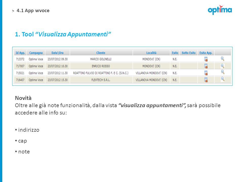 > 1. Tool Visualizza Appuntamenti Novità Oltre alle già note funzionalità, dalla vista visualizza appuntamenti, sarà possibile accedere alle info su: