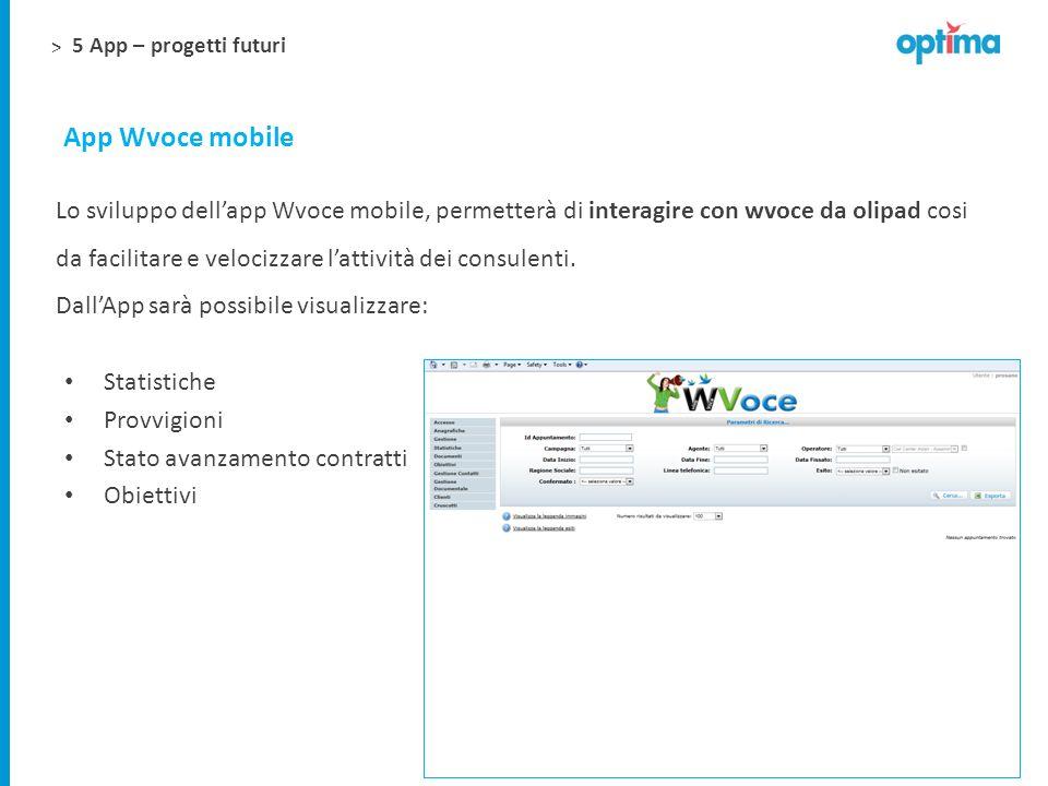 > App Wvoce mobile Statistiche Provvigioni Stato avanzamento contratti Obiettivi Lo sviluppo dellapp Wvoce mobile, permetterà di interagire con wvoce