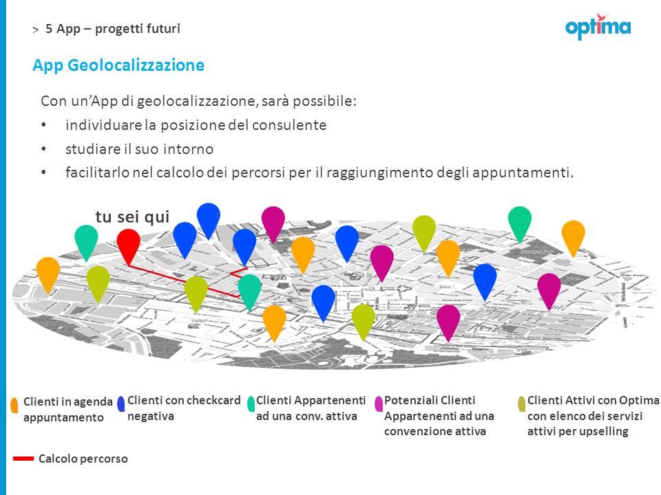 > App Geolocalizzazione Con unApp di geolocalizzazione, sarà possibile: individuare la posizione del consulente studiare il suo intorno facilitarlo ne