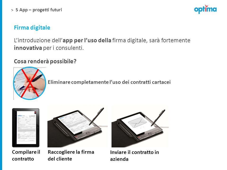 > 5 App – progetti futuri Firma digitale Lintroduzione dellapp per luso della firma digitale, sarà fortemente innovativa per i consulenti. Cosa render