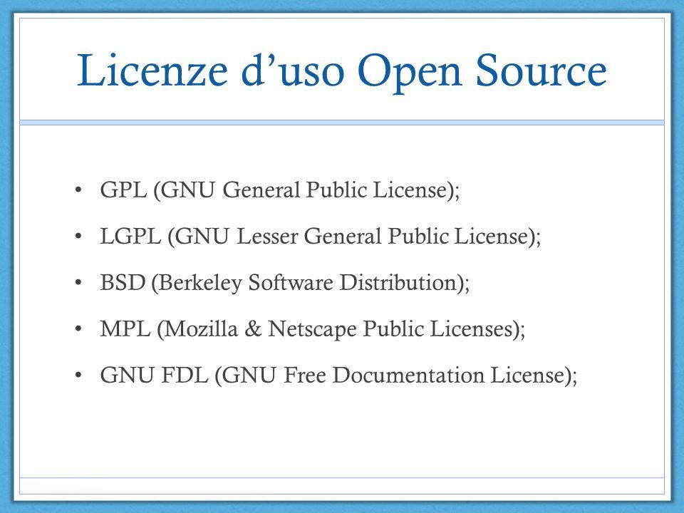 Licenze duso Open Source GPL (GNU General Public License); LGPL (GNU Lesser General Public License); BSD (Berkeley Software Distribution); MPL (Mozilla & Netscape Public Licenses); GNU FDL (GNU Free Documentation License);