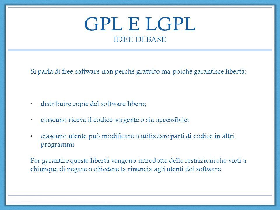 GPL E LGPL IDEE DI BASE Si parla di free software non perché gratuito ma poiché garantisce libertà: distribuire copie del software libero; ciascuno ri