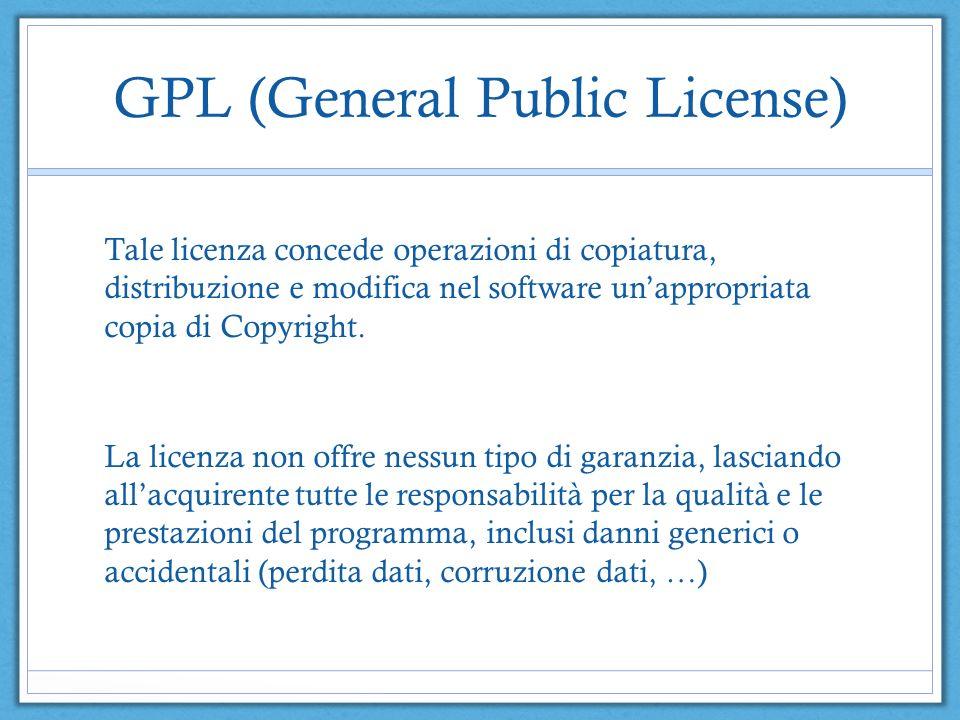 GPL (General Public License) Tale licenza concede operazioni di copiatura, distribuzione e modifica nel software unappropriata copia di Copyright.