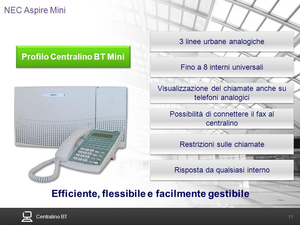 Centralino BT 11 NEC Aspire Mini 3 linee urbane analogiche Fino a 8 interni universali Visualizzazione del chiamate anche su telefoni analogici Effici