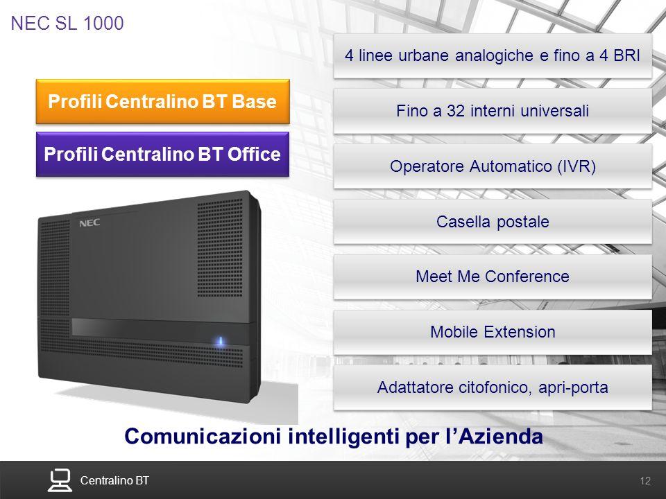 Centralino BT 12 NEC SL 1000 4 linee urbane analogiche e fino a 4 BRI Fino a 32 interni universali Operatore Automatico (IVR) Comunicazioni intelligen