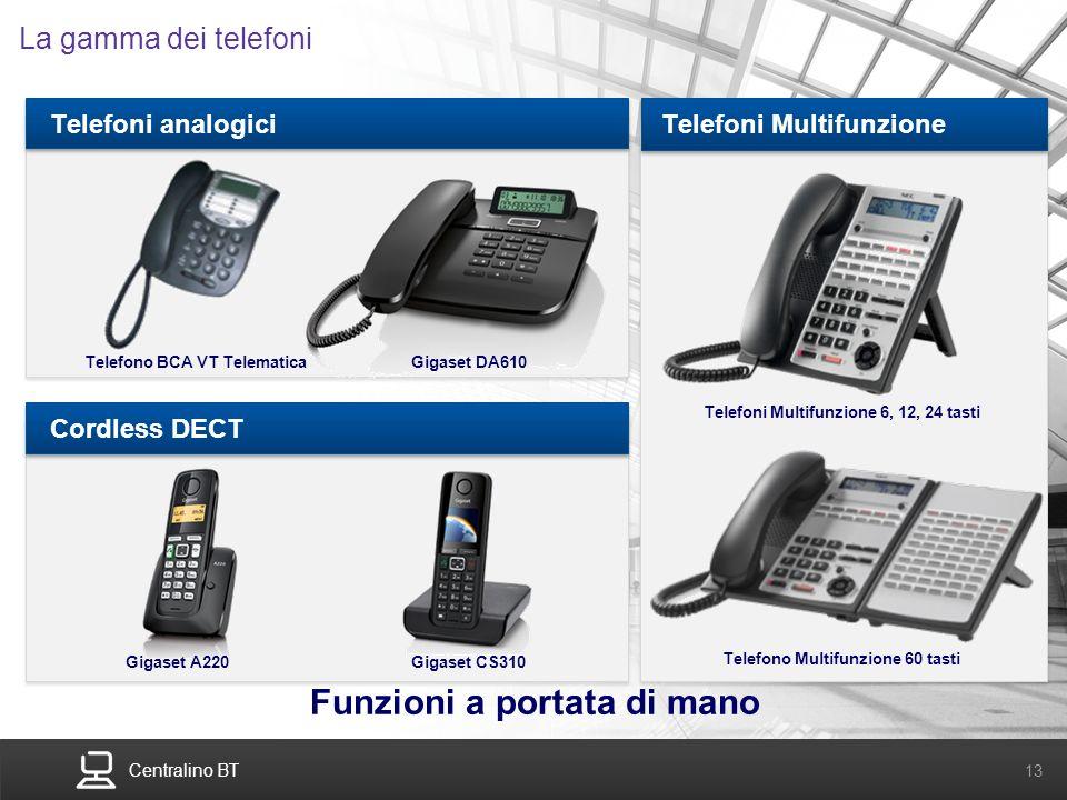 Centralino BT 13 La gamma dei telefoni Funzioni a portata di mano Telefoni analogiciCordless DECTTelefoni Multifunzione Telefono BCA VT Telematica Gig