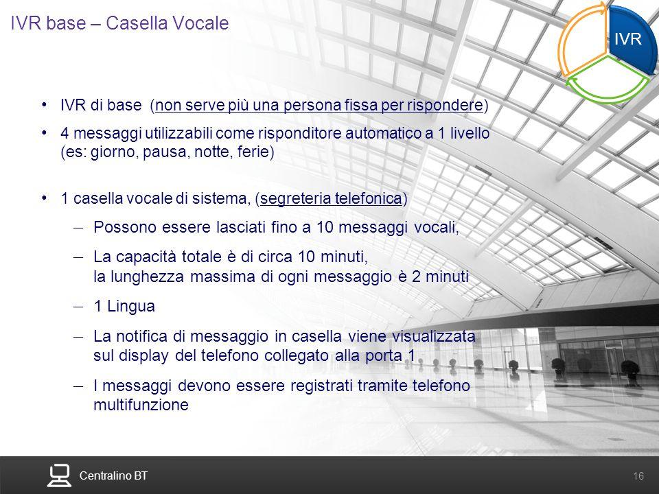 Centralino BT 16 IVR base – Casella Vocale IVR di base (non serve più una persona fissa per rispondere) 4 messaggi utilizzabili come risponditore auto