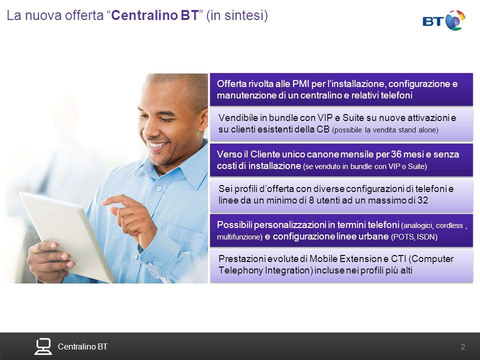 Centralino BT 2 La nuova offerta Centralino BT (in sintesi) Offerta rivolta alle PMI per linstallazione, configurazione e manutenzione di un centralin