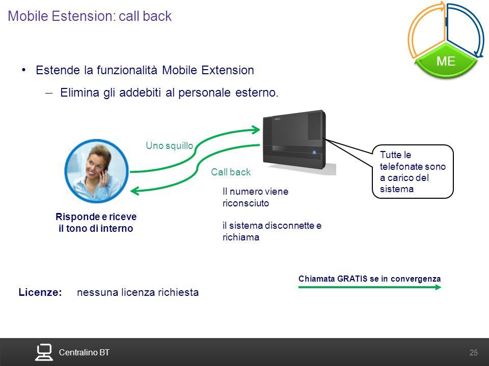 Centralino BT 25 Estende la funzionalità Mobile Extension – Elimina gli addebiti al personale esterno. Uno squillo Il numero viene riconsciuto il sist