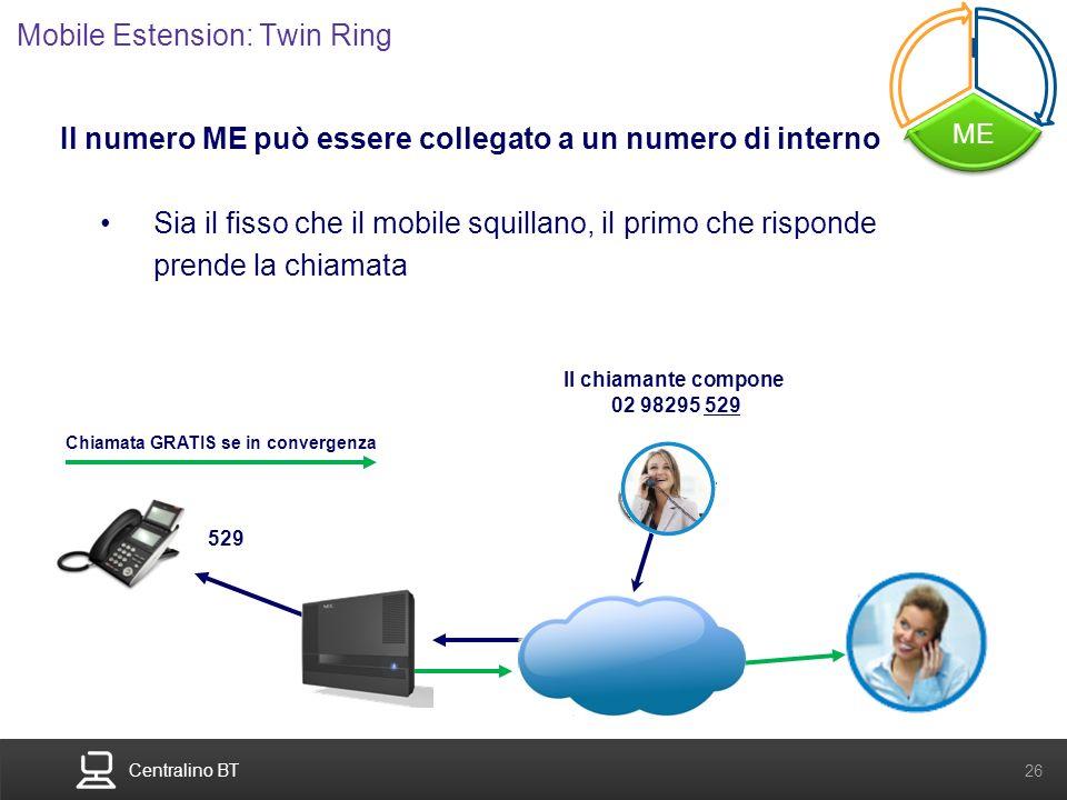 Centralino BT 26 Il numero ME può essere collegato a un numero di interno Sia il fisso che il mobile squillano, il primo che risponde prende la chiama