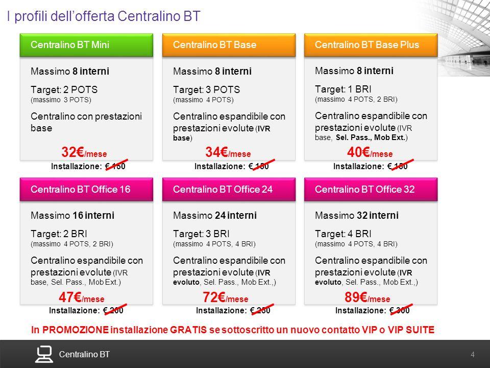Centralino BT 4 Centralino BT Mini Massimo 8 interni Target: 2 POTS (massimo 3 POTS) Centralino con prestazioni base I profili dellofferta Centralino