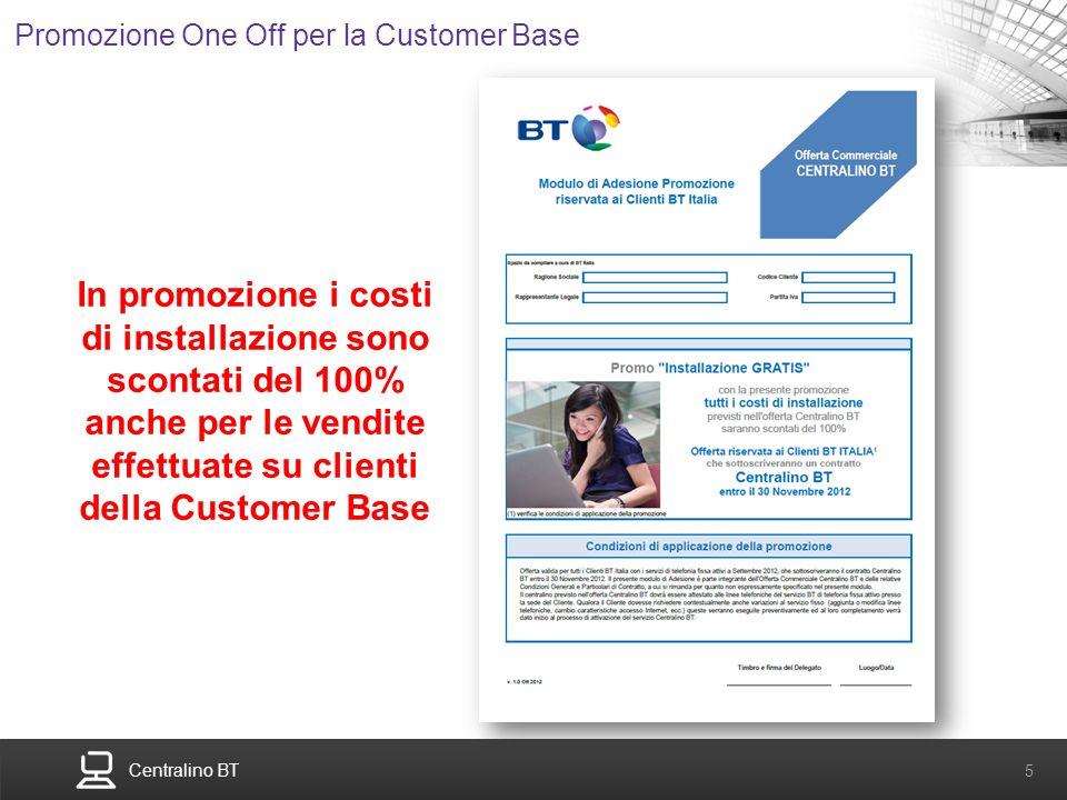 Centralino BT 5 Promozione One Off per la Customer Base In promozione i costi di installazione sono scontati del 100% anche per le vendite effettuate
